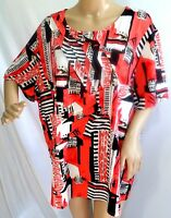Southern Lady Women Plus Size 3x Coral Black Ivory Tunic Top Blouse Shirt