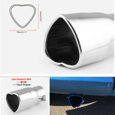 1x 63mm Inlet Car Exhaust Pipe Tip Muffler Stainless Steel Heart Shaped Straight