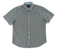 Untuckit Mens Casual Shirt M Blue White Checkered Button Up Short Sleeve