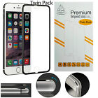 Twin Pack Metal Edge iPhone 6S 6 Black Gorilla Screen Protector Tempered Glass