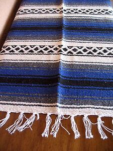 Falsa Serape ONW-Blue New West Southwest Southwestern Mexican Blanket Afghan