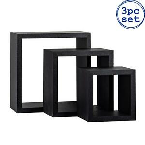 3x Floating Box Shelves Wooden Wall Mounted Storage Living Room 3 Sizes Black
