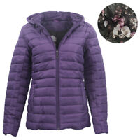 Women's Hooded Puffer Jacket Quilted Padded Puffy Amethyst Coat w Removable Hood