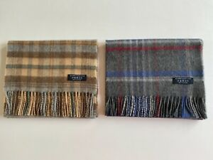 2 Pure Cashmere Scarves made in Scotland by Johnstons of Elgin