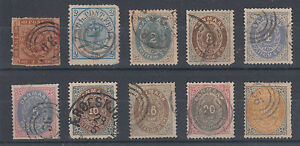 Denmark Sc 9/34 used 1863-1877 issues, 10 singles w/ small faults