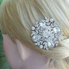 Unique Clear Rhinestone Crystal Flower Bridal Hair Comb Headpiece Tiara 05828C1