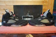 2007 Nike Air Jordan 5 Retro Black Met Silver Fire Red Sz 12 (0642) 136027-004