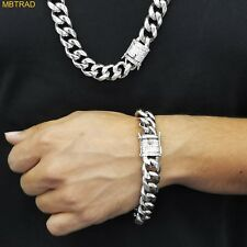 Mens Cuban Miami Link Bracelet & Chain Set 18k White Gold Plated 10mm  CZ CLASP