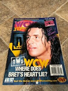Bret The Hitman Hart Signed Autographed WCW Magazine January 1998 WWF