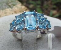 4.30 cts Genuine Swiss Blue Topaz Cluster Size 5 Ring 925 Sterling Silver