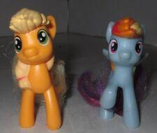 "My Little Pony McDonald's Happy Meal RAINBOW DASH & APPLE JACK Used Toy's 2 3/4"""