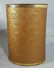 Vintage Gold Colored Tin Pearl-Wick Waste Basket Trash Can with Vinyl Leather