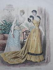 Jules DAVID La revue de la MODE Toilettes Mme PELLETIER VIDAL GRAVURE XIXéme
