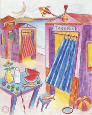 """Dimitris C. Milionis """"AEGEAN TAVERNA"""" Drawing Transparent Paper 2003 Greek"""