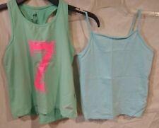 Lot (2) H & M/Faded Glory Tank Tops/Camis-Light Blue/Pink/Racerback/Sport-4/6X