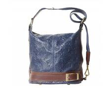 Blue/Brown Leather Bucket Backpack Embossed Purse Made in Italy