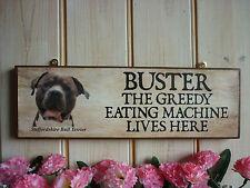 Personalizado Staffordshire Bull Terrier signo de madera jardín signo Puerta Firmar Placa