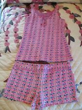 Vintage 1960s 70s Tank Top & Short Set ~ Pink & Blue Floral Size Small / Medium