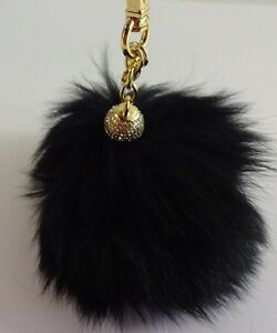 MICHAEL KORS DYED BLACK FOX FUR POM POM WITH CRYSTAL BALL BAG CHARM KEYCHAIN
