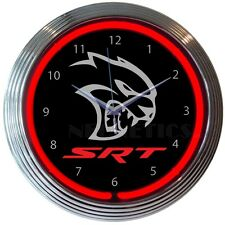 "Dodge Challenger Hellcat Logo Red Neon Hanging Wall Clock 15"" Diameter 8HELLC"
