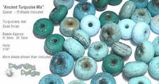 ACCENT Handmade Lampwork Beads - 15 Spacers  - Ancient Turquoise Blue Matte Mix