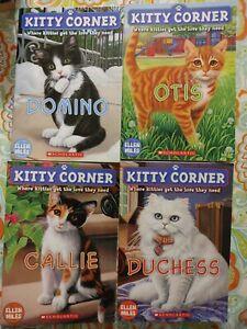 Kitty Corner book lot Domino, Callie, Otis, Duchess, by Ellen Mills set of 4