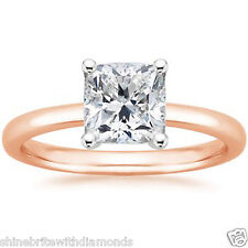 1 Ct Princess Solitaire Engagement Wedding Promise Ring Solid 18K Rose Pink Gold