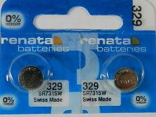 RENATA  Watch Battery  #329 /SR731W  Swiss Made  2Pcs