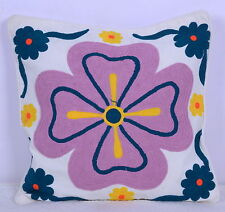 "Indian Handmade Suzani Pillow Thread Work Royal Cushion Cover 16"" Bed Throw"