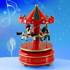 US Wooden Horse Rotating Carousel Figurine Music Box Birthday Gift For Kids Red