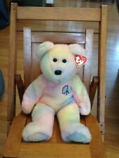 TY BEANIE BUDDY PEACE TEDDY BEAR, NEW, 3RD GENERATION, SOFT, PASTEL TY-DYE,1999