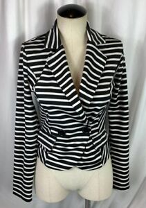Poetry Clothing Women's Black & White Stripe Blazer Size S Small