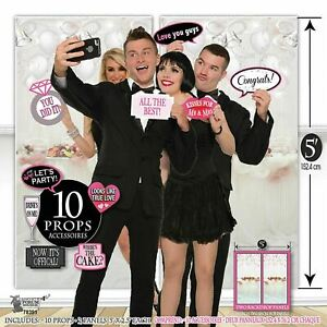 Wedding Picture Backdrop and Selfie Props, Photo Booth Backdrop & Cards 12p Set