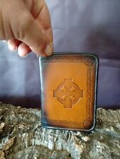 Celtic Cross leather vertical wallet,Unique,airbrushed,Made in England