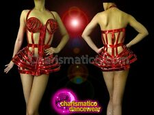 CHARISMATICO Divas Metallic Shiny Red Vinyl Madonna Inspired Cage Corset Costume