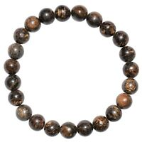 CHARGED Bronzite Crystal 8mm Bead Stretchy Bracelet + Selenite Puffy Heart