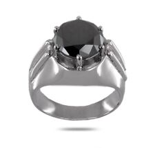 3.4 Ct Certified Round Cut Black Diamond Ring - Gift For Men,Valentines.