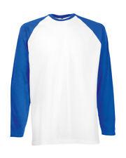 Fruit of The Loom Long Sleeve Baseball T-shirt White/royal Blue Wholesale 61028 XL