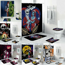The Nightmare Before Christmas Bathroom Rugs Set Shower Curtain Toilet Lid Cover