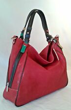 Stylish soft red Italian smooth leather hand/shoulder bag.Made in Italy