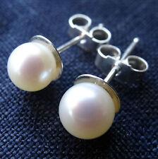 new 6mm fine PEARL & 925 STERLING SILVER ball bead stud pierced earrings -D165