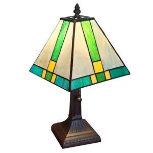 Amora Lighting Tiffany 14.5 in. Green and Blue Table Lamp w/ Stained Glass Shade