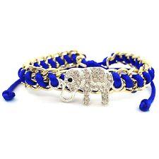 Summer Gold Chain Rhinestone Silver Elephant Royal Blue Shamballa Pull Bracelet
