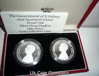 1984 Ascension Island & St Helena Silver Proof Piedfort Coin Set Box & Cert