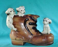 "Vintage Lipper & Mann Dalmatian Puppies In A Shoe Figurine Bank Japan 5"" x 6"""