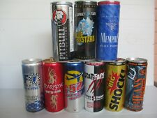 Energy drinks: 9 x 250ml empty energy cans,different countries, different years.
