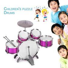 Kids Drum Set Musical Instrument Toy 5 Drums with Cymbal Stool Drum Sticks MI