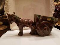 "Vintage Royal Haeger Brown Donkey Pulling Cart Ceramic 11.25"" Planter"