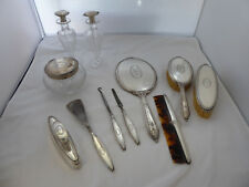 "Antique 11 Piece Sterling Vanity Dresser Set Initial ""D"" Wallace"