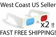 Paper 3D Glasses 2 Pairs Red Blue Universal  Cardboard Anaglyph Cyan For Movies